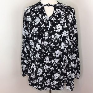 Lane Bryant Black and White Floral Blouse
